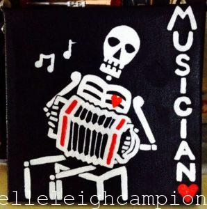 Accordion Musician (Skeleton) on Acrylic on Canvas by New Orleans Jackson Square Artist, Jenelle Leigh Campion MFA @jenelleleighc