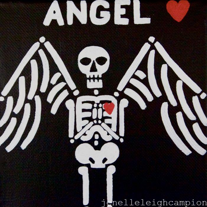 Angel (Skeleton) on Acrylic on Canvas by New Orleans Jackson Square Artist, Jenelle Leigh Campion MFA @jenelleleighc