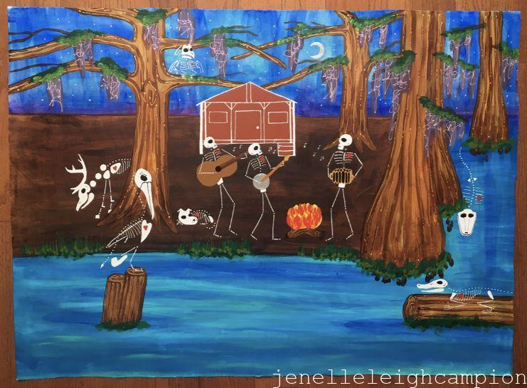 Bayou Farm (Skeleton) on Acrylic on Canvas by New Orleans Jackson Square Artist, Jenelle Leigh Campion MFA @jenelleleighc