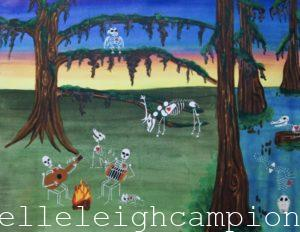 Bayou Sunset (Skeleton) on Acrylic on Canvas by New Orleans Jackson Square Artist, Jenelle Leigh Campion MFA @jenelleleighc