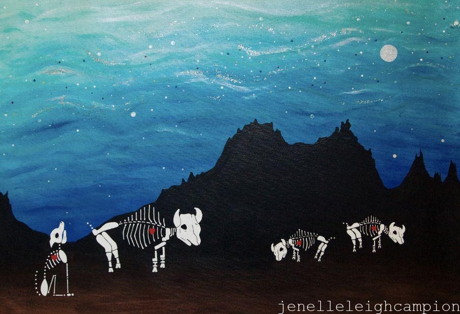 Buffalo Twilight (Skeleton) on Acrylic on Canvas by New Orleans Jackson Square Artist, Jenelle Leigh Campion MFA @jenelleleighc