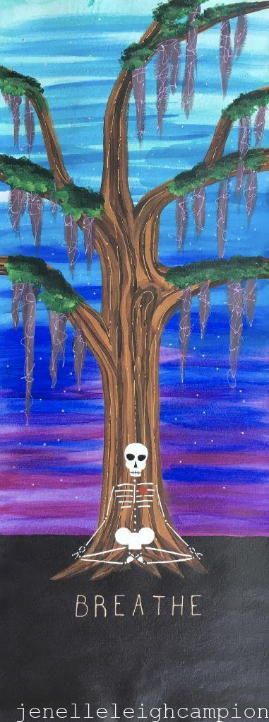 Cosmic Meditation (Skeleton) on Acrylic on Canvas by New Orleans Jackson Square Artist, Jenelle Leigh Campion MFA @jenelleleighc