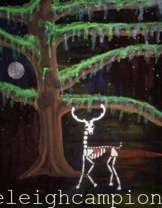 Deer Bayou (Skeleton) on Acrylic on Canvas by New Orleans Jackson Square Artist, Jenelle Leigh Campion MFA @jenelleleighc