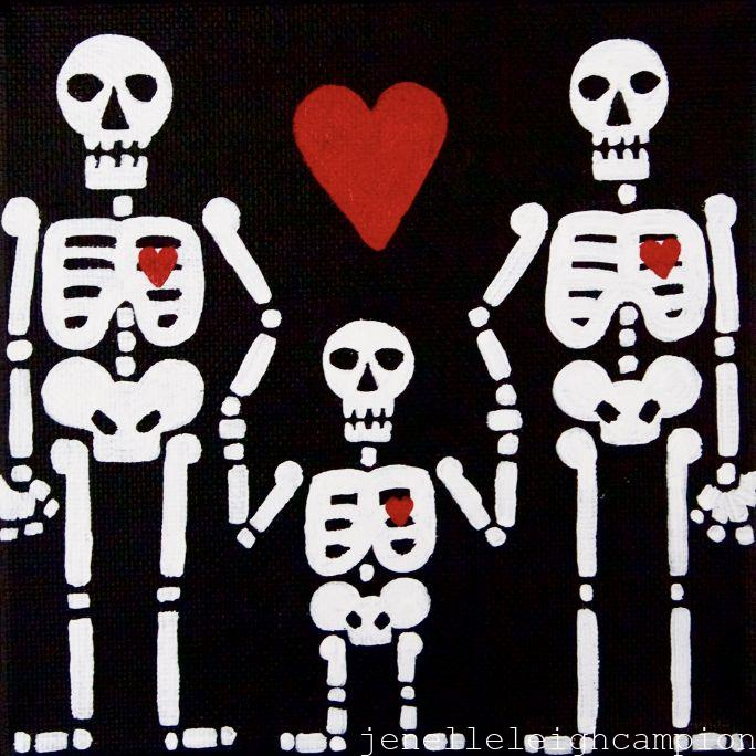 Family (Skeleton) on Acrylic on Canvas by New Orleans Jackson Square Artist, Jenelle Leigh Campion MFA @jenelleleighc