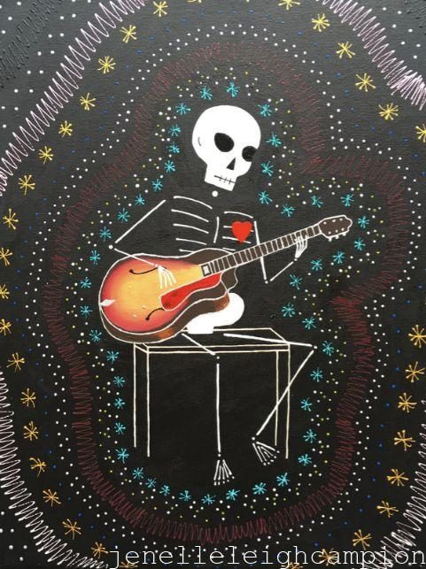Guitar Musician (Skeleton) on Acrylic on Canvas by New Orleans Jackson Square Artist, Jenelle Leigh Campion MFA @jenelleleighc