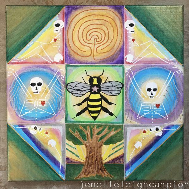 Honeycomb Meditation (Skeleton) on Acrylic on Canvas by New Orleans Jackson Square Artist, Jenelle Leigh Campion MFA @jenelleleighc