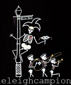 Jester Band (Skeleton) on Acrylic on Canvas by New Orleans Jackson Square Artist, Jenelle Leigh Campion MFA @jenelleleighc