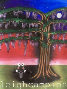 Lovers Kiss Tree (Skeleton) on Acrylic on Canvas by New Orleans Jackson Square Artist, Jenelle Leigh Campion MFA @jenelleleighc