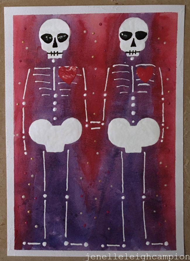 Lovers (Red) (Skeleton) on Gouache and Acrylic on Paper by New Orleans Jackson Square Artist, Jenelle Leigh Campion MFA @jenelleleighc