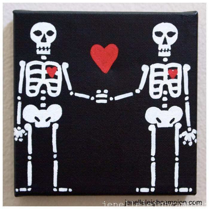 Lovers (Black) (Skeleton) on Acrylic on Canvas by New Orleans Jackson Square Artist, Jenelle Leigh Campion MFA @jenelleleighc