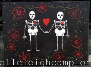 Lovers with Flowers (Skeleton) on Acrylic on Canvas by New Orleans Jackson Square Artist, Jenelle Leigh Campion MFA @jenelleleighc