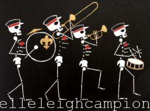 Marching Band (Skeleton) on Acrylic on Canvas by New Orleans Jackson Square Artist, Jenelle Leigh Campion MFA @jenelleleighc