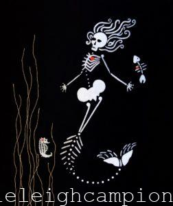 Mermaid (Skeleton) on Acrylic on Canvas by New Orleans Jackson Square Artist, Jenelle Leigh Campion MFA @jenelleleighc