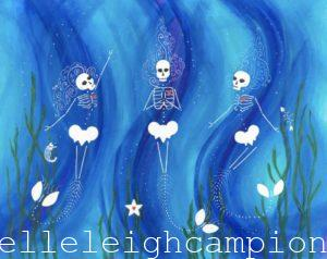 Mermaids (Blue) (Skeleton) on Acrylic on Canvas by New Orleans Jackson Square Artist, Jenelle Leigh Campion MFA @jenelleleighc