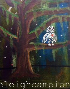 Owl Bayou (Skeleton) on Acrylic on Canvas by New Orleans Jackson Square Artist, Jenelle Leigh Campion MFA @jenelleleighc