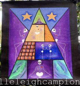 Peace Pyramid (Skeleton) on Acrylic on Canvas by New Orleans Jackson Square Artist, Jenelle Leigh Campion MFA @jenelleleighc