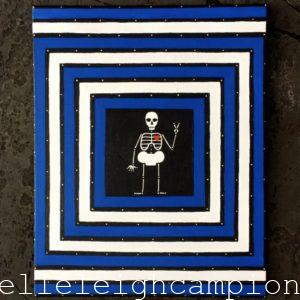 Peaceful (Blue and White) (Skeleton) on Acrylic on Canvas by New Orleans Jackson Square Artist, Jenelle Leigh Campion MFA @jenelleleighc