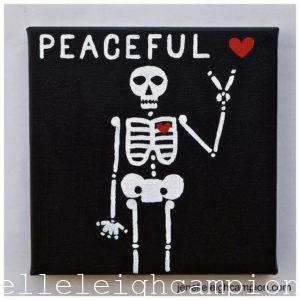Peaceful (Skeleton) on Acrylic on Canvas by New Orleans Jackson Square Artist, Jenelle Leigh Campion MFA @jenelleleighc