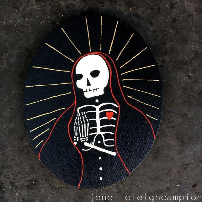 Prayerful (Black) (Skeleton) on Acrylic on Canvas by New Orleans Jackson Square Artist, Jenelle Leigh Campion MFA @jenelleleighc