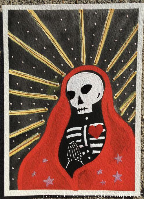 Prayerful (Red) (Skeleton) on Gouache and Acrylic on Paper by New Orleans Jackson Square Artist, Jenelle Leigh Campion MFA @jenelleleighc