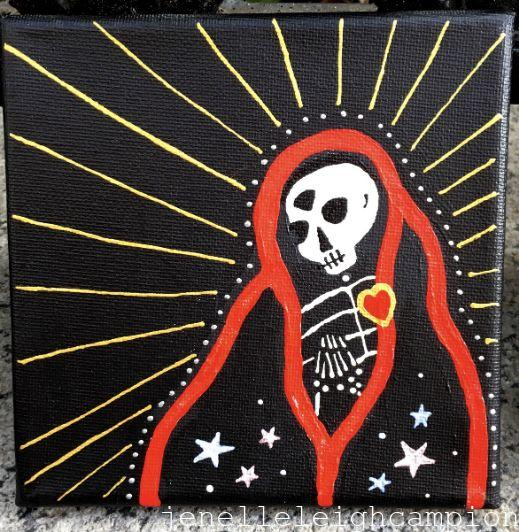 Prayerful with Third Eye (Skeleton) on Acrylic on Canvas by New Orleans Jackson Square Artist, Jenelle Leigh Campion MFA @jenelleleighc