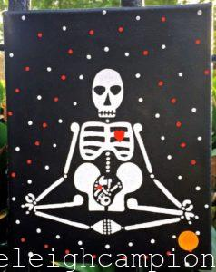 Pregnant (Skeleton) on Acrylic on Canvas by New Orleans Jackson Square Artist, Jenelle Leigh Campion MFA @jenelleleighc