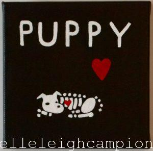 Puppy (Skeleton) on Acrylic on Canvas by New Orleans Jackson Square Artist, Jenelle Leigh Campion MFA @jenelleleighc