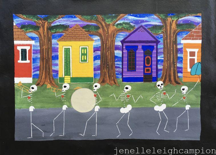 Second Line (Skeleton) on Acrylic on Canvas by New Orleans Jackson Square Artist, Jenelle Leigh Campion MFA @jenelleleighc
