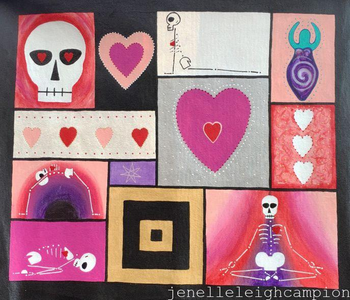 Skeleton, Yoga, Goddess, Love (Skeleton) on Acrylic on Canvas by New Orleans Jackson Square Artist, Jenelle Leigh Campion MFA @jenelleleighc