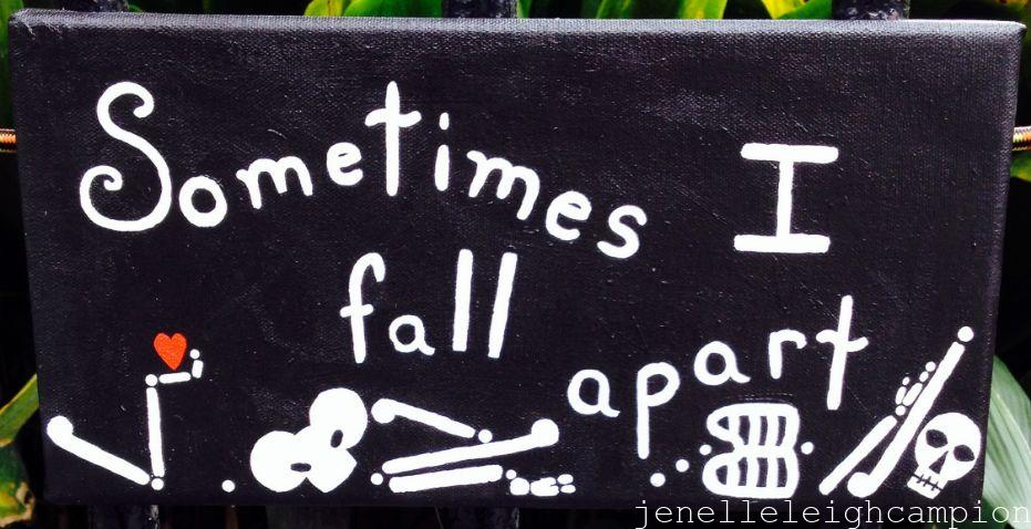 Sometimes I Fall Apart (Skeleton) on Acrylic on Canvas by New Orleans Jackson Square Artist, Jenelle Leigh Campion MFA @jenelleleighc