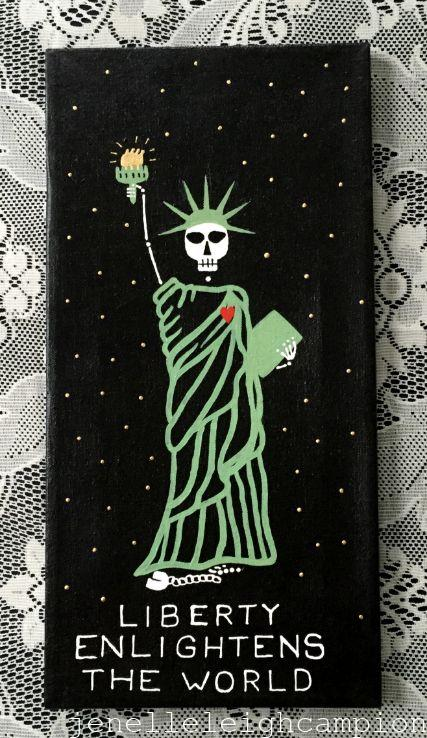 Liberty (Skeleton) on Acrylic on Canvas by New Orleans Jackson Square Artist, Jenelle Leigh Campion MFA @jenelleleighc