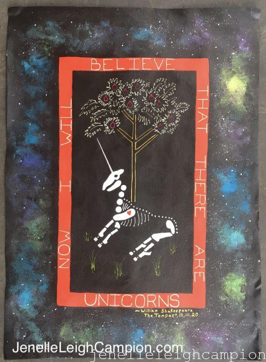 Unicorn (Skeleton) on Acrylic on Canvas by New Orleans Jackson Square Artist, Jenelle Leigh Campion MFA @jenelleleighc