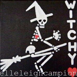 Witchy (Skeleton) on Acrylic on Canvas by New Orleans Jackson Square Artist, Jenelle Leigh Campion MFA @jenelleleighc