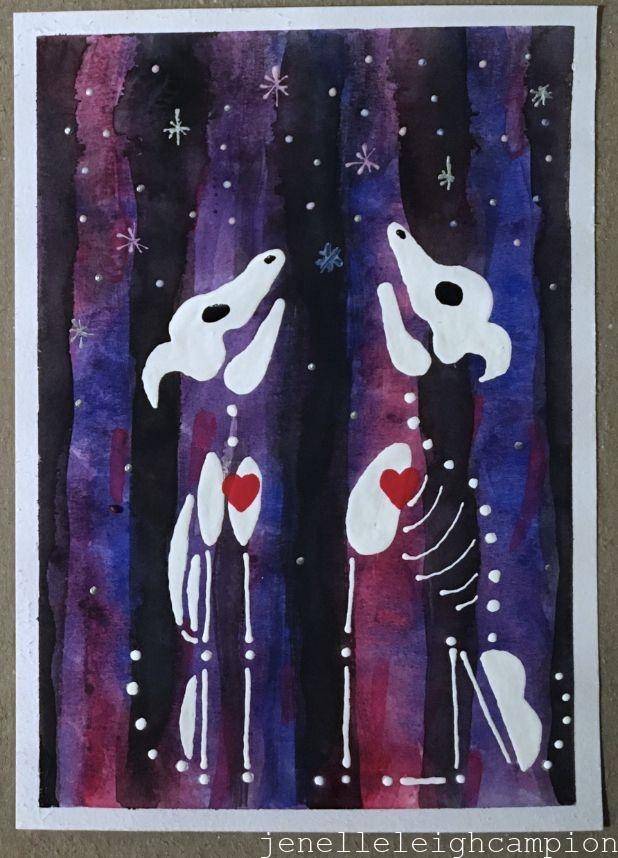 Wolves (Skeleton) on Gouache and Acrylic on Paper by New Orleans Jackson Square Artist, Jenelle Leigh Campion MFA @jenelleleighc