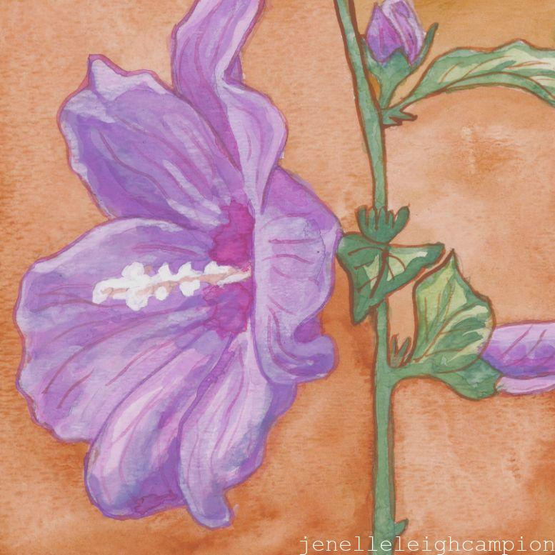 Althea (Flower, Blossom) on Gouache on Paper by New Orleans Jackson Square Artist, Jenelle Leigh Campion MFA @jenelleleighc