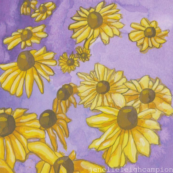 Black Eyed Susan (Flower, Blossom) on Gouache on Paper by New Orleans Jackson Square Artist, Jenelle Leigh Campion MFA @jenelleleighc