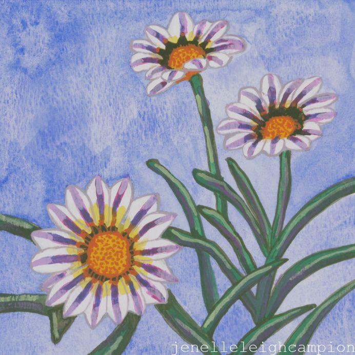 Daisy (Flower, Blossom) on Gouache on Paper by New Orleans Jackson Square Artist, Jenelle Leigh Campion MFA @jenelleleighc