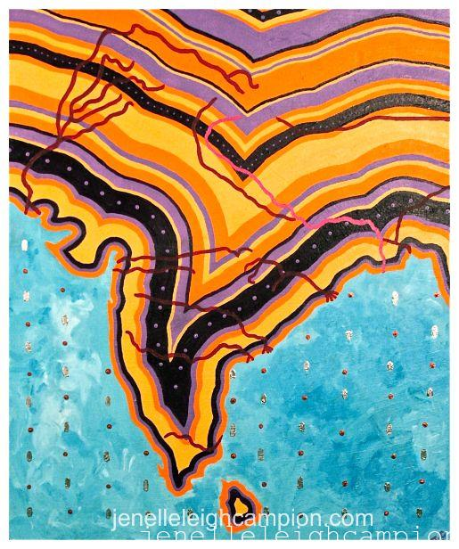 Ganges River (River) on Acrylic on Canvas by New Orleans Jackson Square Artist, Jenelle Leigh Campion MFA @jenelleleighc