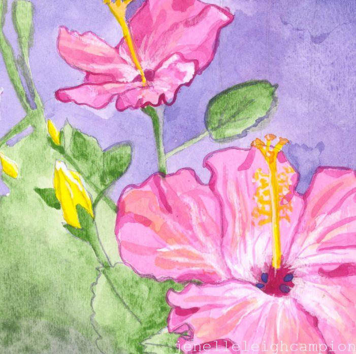 Hibiscus (Flower, Blossom) on Gouache on Paper by New Orleans Jackson Square Artist, Jenelle Leigh Campion MFA @jenelleleighc