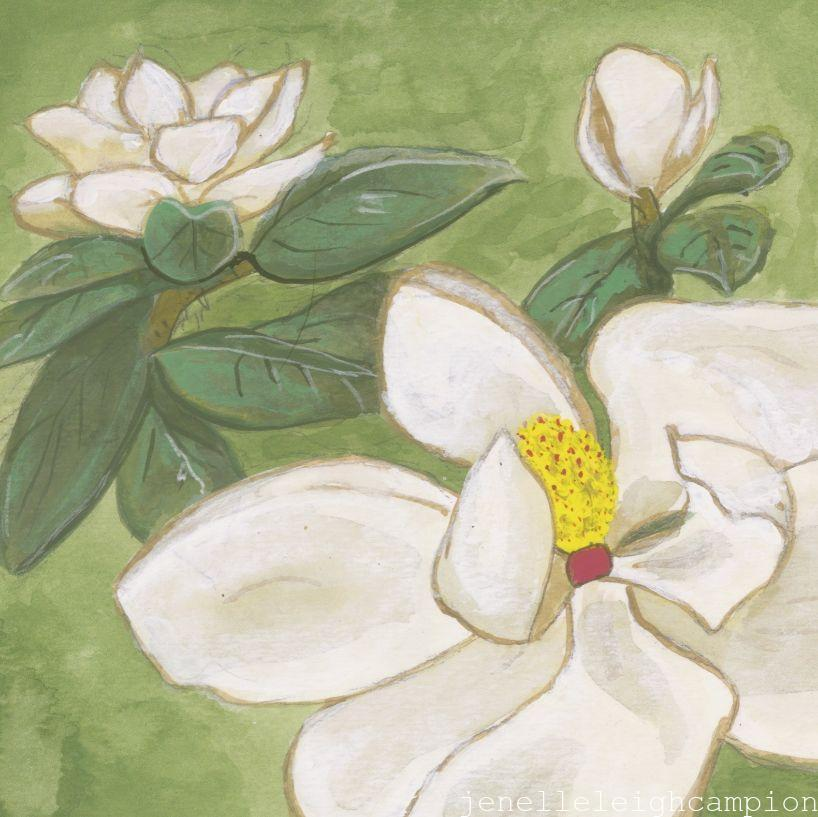 Magnolia (Flower, Blossom) on Gouache on Paper by New Orleans Jackson Square Artist, Jenelle Leigh Campion MFA @jenelleleighc