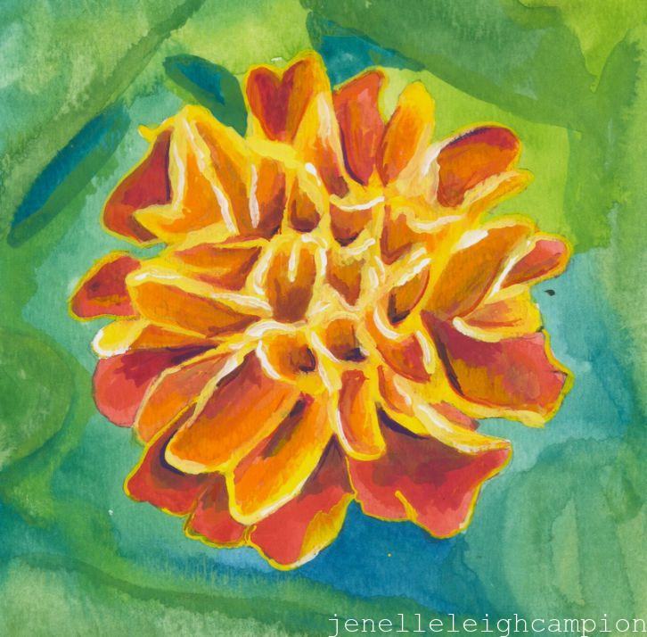 Marigold (Flower, Blossom) on Gouache on Paper by New Orleans Jackson Square Artist, Jenelle Leigh Campion MFA @jenelleleighc