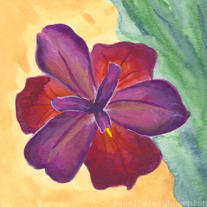 Maroon Iris (Flower, Blossom) on Gouache on Paper by New Orleans Jackson Square Artist, Jenelle Leigh Campion MFA @jenelleleighc