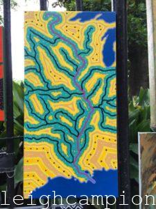 Mississippi River Watershed (yellow and teal) (River) on Acrylic on Canvas by New Orleans Jackson Square Artist, Jenelle Leigh Campion MFA @jenelleleighc