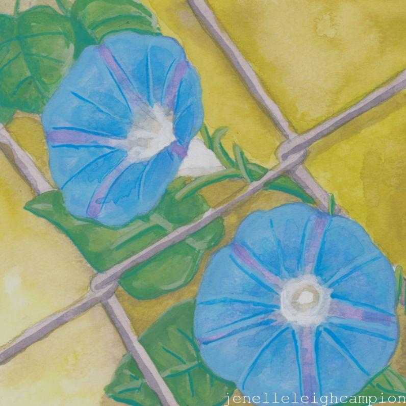 Morning Glories (Flower, Blossom) on Gouache on Paper by New Orleans Jackson Square Artist, Jenelle Leigh Campion MFA @jenelleleighc