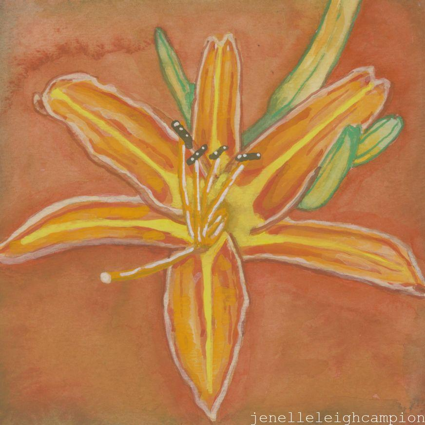 Orange Lily (Flower, Blossom) on Gouache on Paper by New Orleans Jackson Square Artist, Jenelle Leigh Campion MFA @jenelleleighc