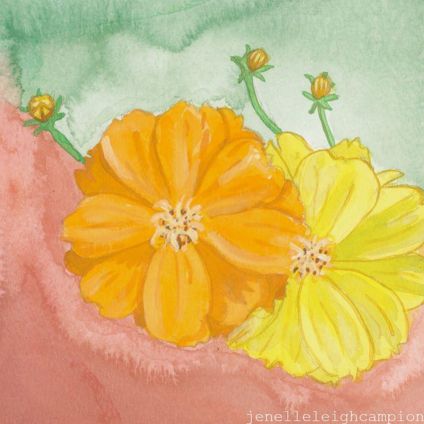 Orange and Yellow Flowers (Flower, Blossom) on Gouache on Paper by New Orleans Jackson Square Artist, Jenelle Leigh Campion MFA @jenelleleighc