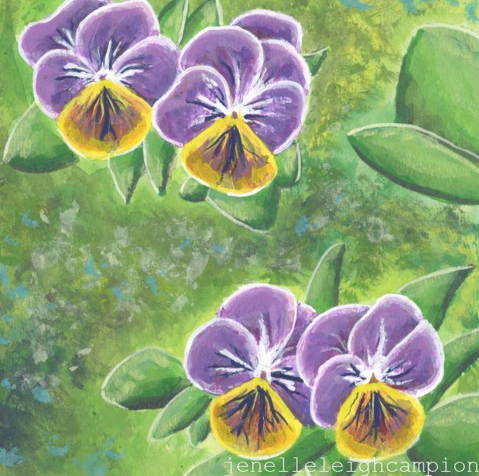 Pansies (Flower, Blossom) on Gouache on Paper by New Orleans Jackson Square Artist, Jenelle Leigh Campion MFA @jenelleleighc