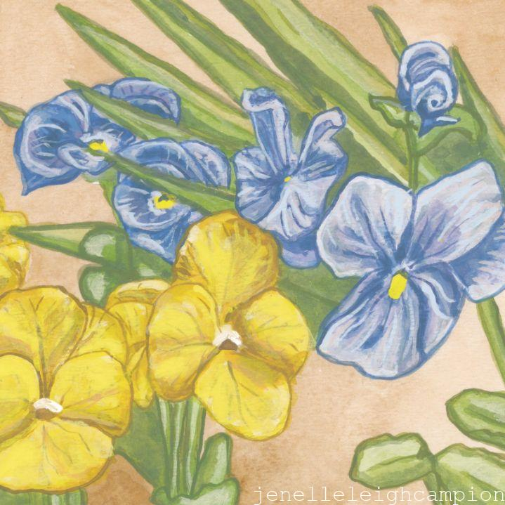 Pansies JSQ (Flower, Blossom) on Gouache on Paper by New Orleans Jackson Square Artist, Jenelle Leigh Campion MFA @jenelleleighc