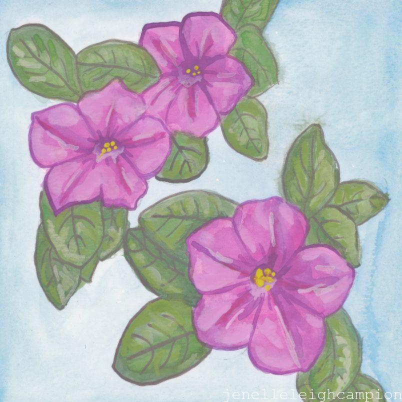 Petunia (Flower, Blossom) on Gouache on Paper by New Orleans Jackson Square Artist, Jenelle Leigh Campion MFA @jenelleleighc