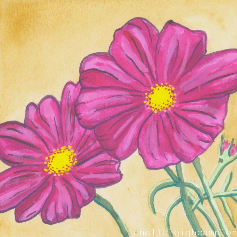 Pink Cosmos (Flower, Blossom) on Gouache on Paper by New Orleans Jackson Square Artist, Jenelle Leigh Campion MFA @jenelleleighc